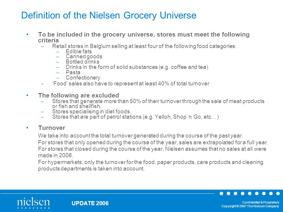Confidential & Proprietary Copyright © 2007 The Nielsen Company UPDATE 2006 Definition of the Nielsen Grocery Universe To be included in the grocery universe, stores must meet the following criteria – Retail stores in Belgium selling at least four of the following food categories: – Edible fats – Canned goods – Bottled drinks – Drinks in the form of solid substances (e.g.