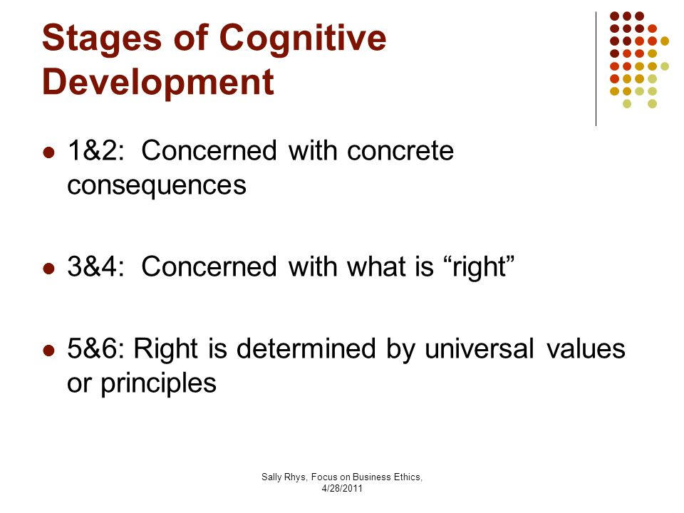 Sally Rhys, Focus on Business Ethics, 4/28/2011 Stages of Cognitive Development 1&2: Concerned with concrete consequences 3&4: Concerned with what is right 5&6: Right is determined by universal values or principles