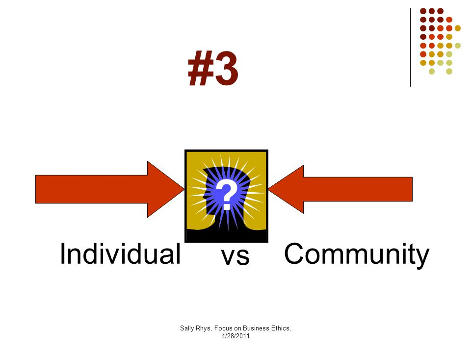 Sally Rhys, Focus on Business Ethics, 4/28/2011 #3 IndividualCommunity vs