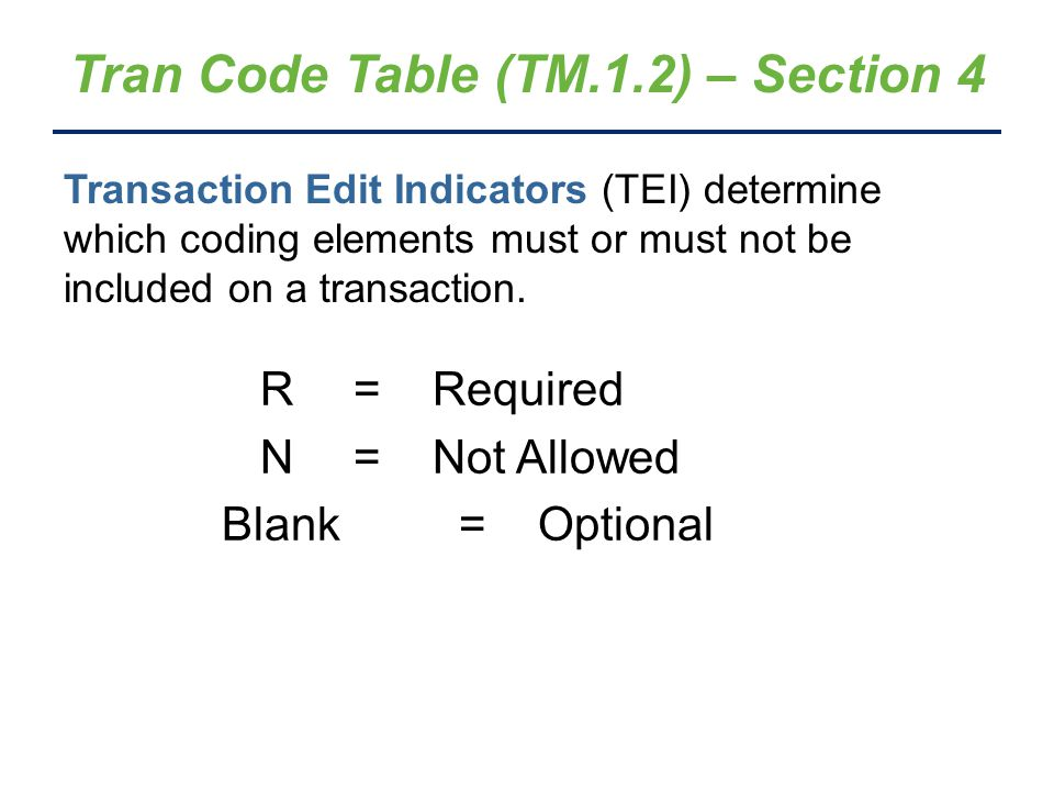Tran Code Table (TM.1.2) – Section 4 R =Required N =Not Allowed Blank =Optional Transaction Edit Indicators (TEI) determine which coding elements must