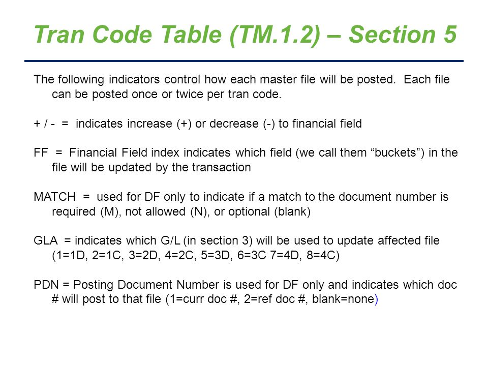 Tran Code Table (TM.1.2) – Section 5 The following indicators control how each master file will be posted. Each file can be posted once or twice per t