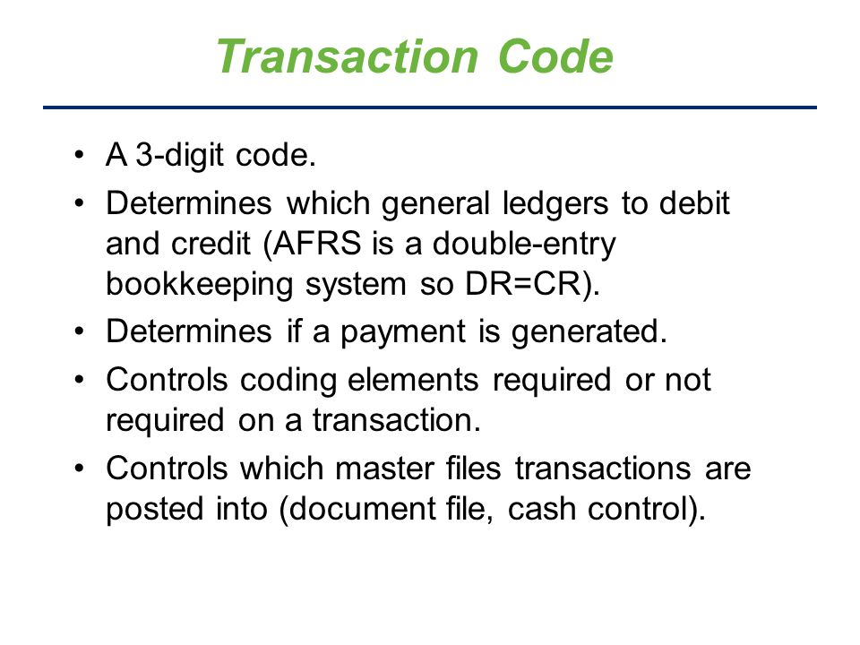 Transaction Code A 3-digit code.