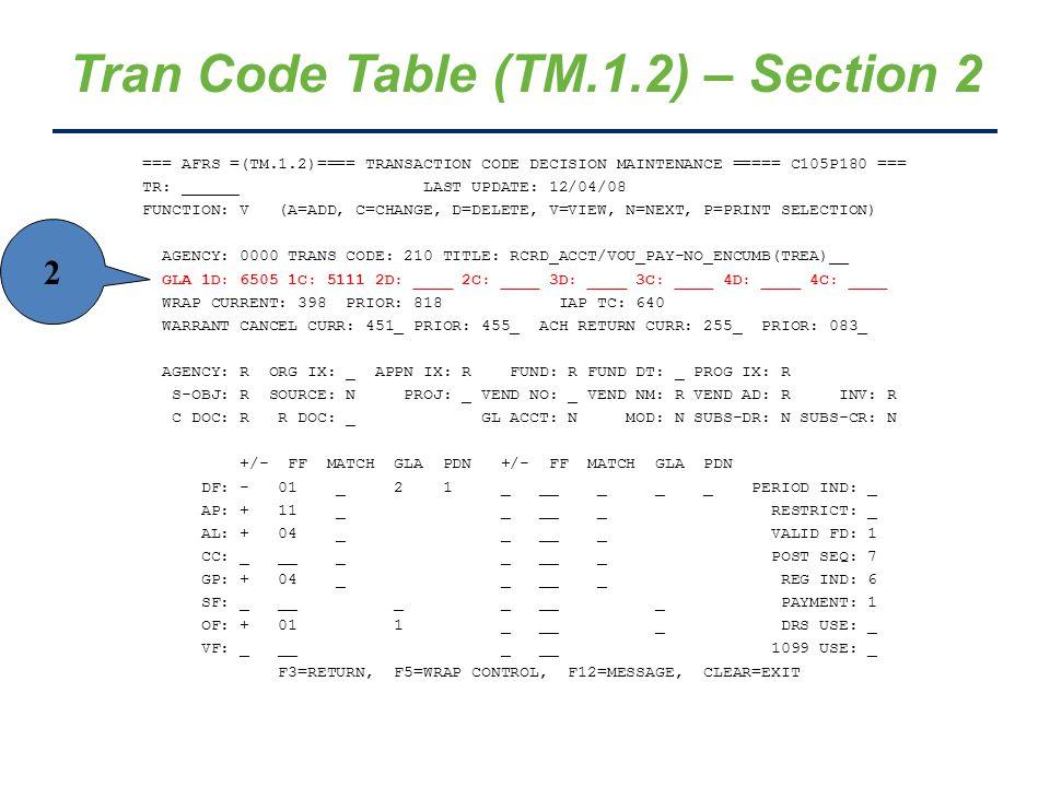 Tran Code Table (TM.1.2) – Section 2 === AFRS =(TM.1.2)==== TRANSACTION CODE DECISION MAINTENANCE ===== C105P180 === TR: ______ LAST UPDATE: 12/04/08