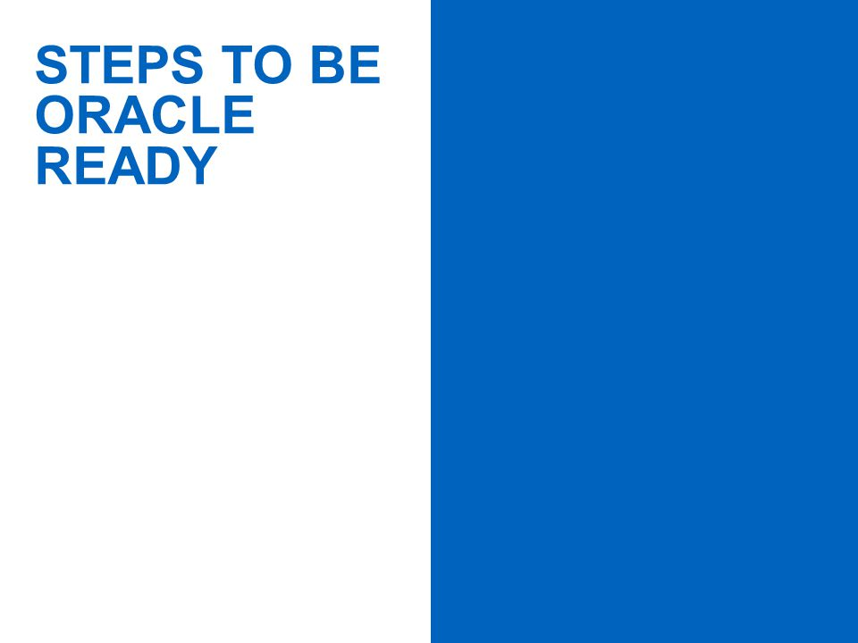 PAGE 11 STEPS TO BE ORACLE READY