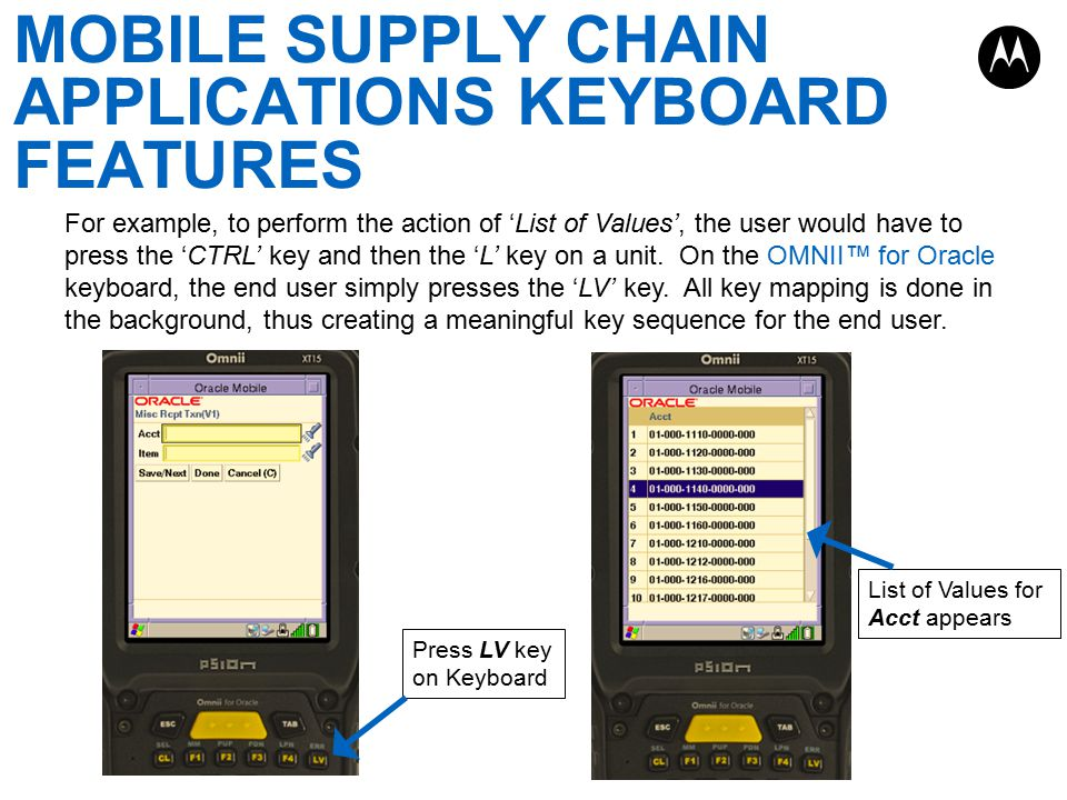 FUNCTION KEY AND ACTION BUTTON MAPPING OMNII Keyboard Overlay Action Key Functions Key Mapping Value CL (Delete) Clears the field where data was entered Control K F1 Oracle Show Key Mappings F1 F2 Oracle Cancel F2 F3 Oracle Previous Page F3 F4 Oracle Next Page F4 LV (List of Values) Displays list of values for designated field Control L SEL (Select Record) Selects a record Control S MM (Main Menu) Navigates to the primary menu Control N PUP (Page Up) Navigates to the previous page Control D PDN (Page Down) Navigates to the next page Control C LPN (Generate) Generates a new value on the current field Control G ERR (Error Message) Displays full error message Control B