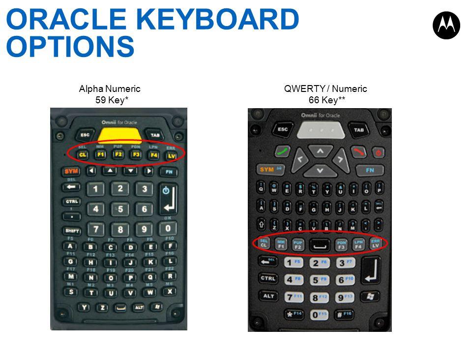 ORACLE KEYBOARD OPTIONS Alpha Numeric 59 Key* QWERTY / Numeric 66 Key**