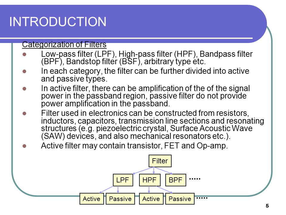 5 INTRODUCTION Categorization of Filters Low-pass filter (LPF), High-pass filter (HPF), Bandpass filter (BPF), Bandstop filter (BSF), arbitrary type e