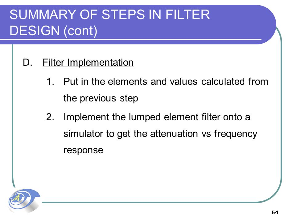 54 SUMMARY OF STEPS IN FILTER DESIGN (cont) D.Filter Implementation 1.Put in the elements and values calculated from the previous step 2.Implement the