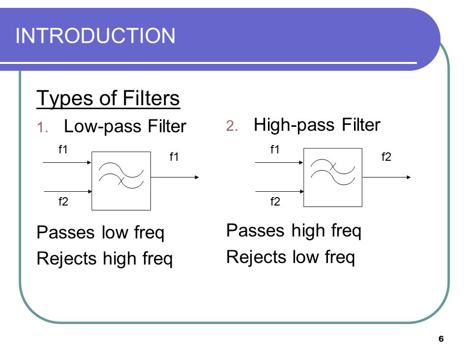 6 INTRODUCTION Types of Filters 1. Low-pass Filter Passes low freq Rejects high freq f1 f2 f1 2. High-pass Filter Passes high freq Rejects low freq f1