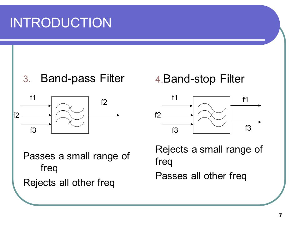 7 INTRODUCTION 3. Band-pass Filter Passes a small range of freq Rejects all other freq 4. Band-stop Filter Rejects a small range of freq Passes all ot