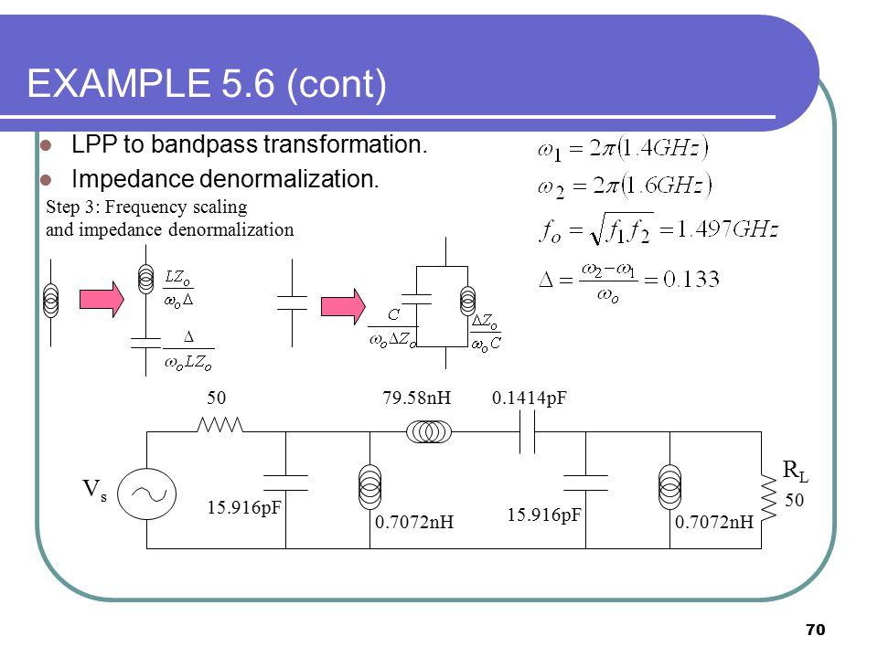 70 EXAMPLE 5.6 (cont) LPP to bandpass transformation. Impedance denormalization. 50 VsVs 15.916pF 0.1414pF79.58nH 0.7072nH 15.916pF 50 RLRL Step 3: Fr