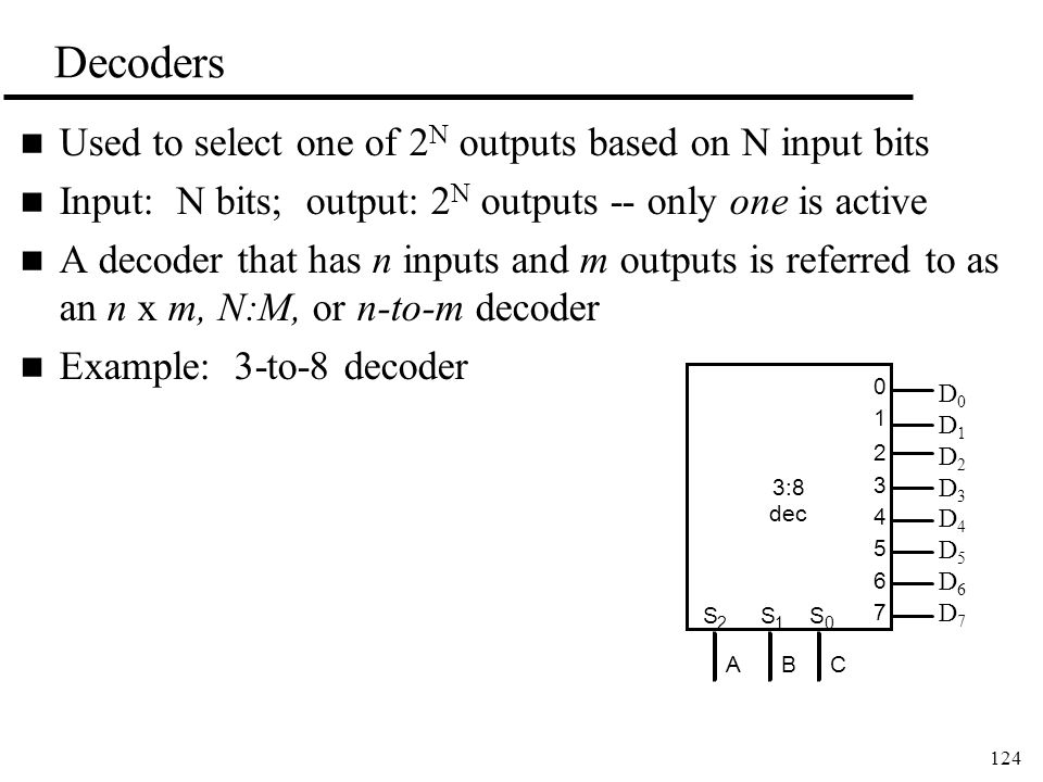 124 Decoders n Used to select one of 2 N outputs based on N input bits n Input: N bits; output: 2 N outputs -- only one is active n A decoder that has n inputs and m outputs is referred to as an n x m, N:M, or n-to-m decoder n Example: 3-to-8 decoder 3:8 dec 0 1 2 3 4 5 6 7 ABC S 2 S 1 S 0 D0D1D2D3D4D5D6D7D0D1D2D3D4D5D6D7