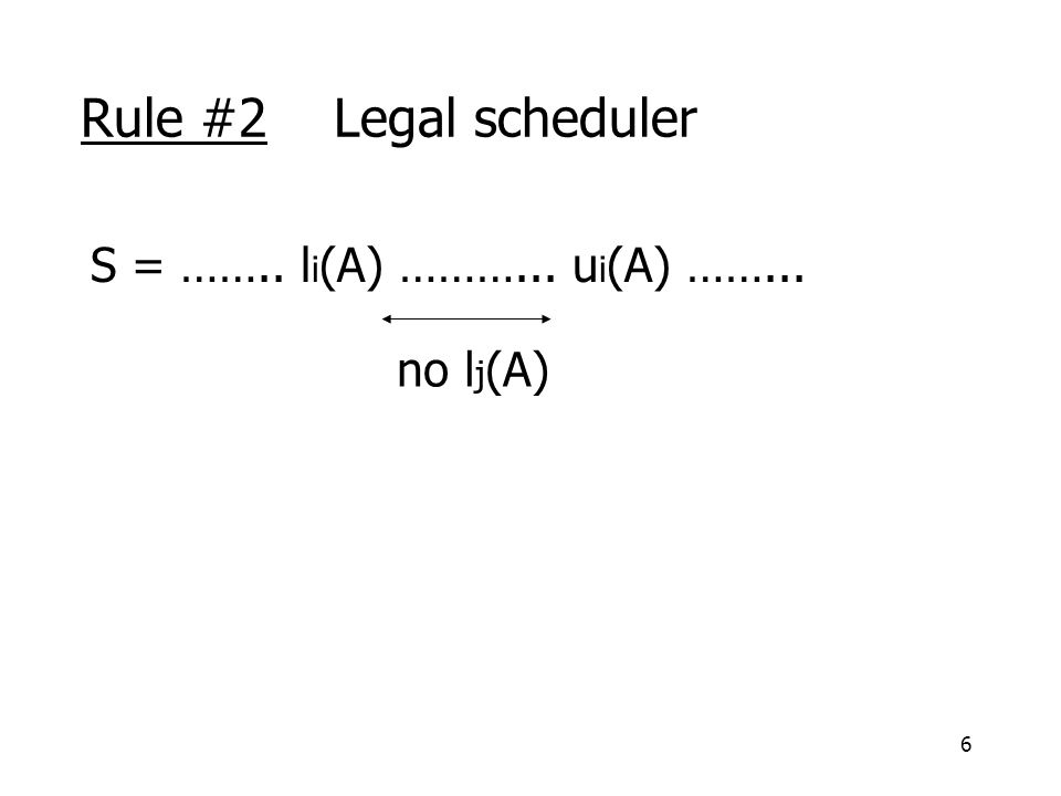 6 Rule #2 Legal scheduler S = …….. l i (A) ………... u i (A) ……... no l j (A)