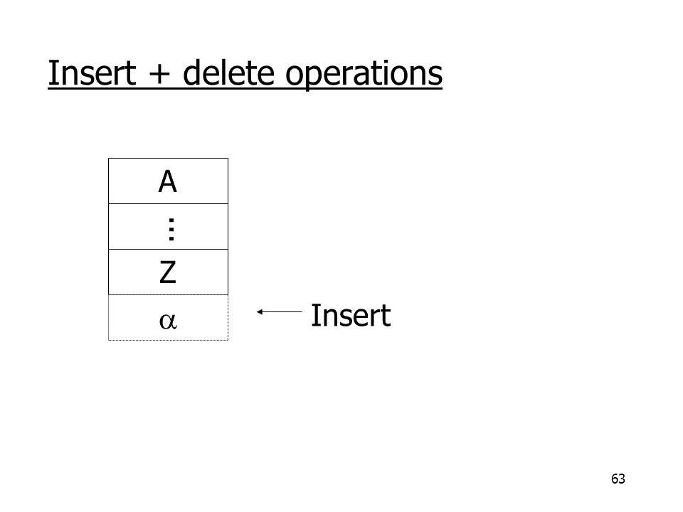 63 Insert + delete operations Insert A Z ...