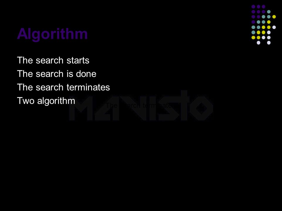 2015-4-16www.brainybetty.com23 Algorithm The search starts The search is done The search terminates Two algorithm The search terminates