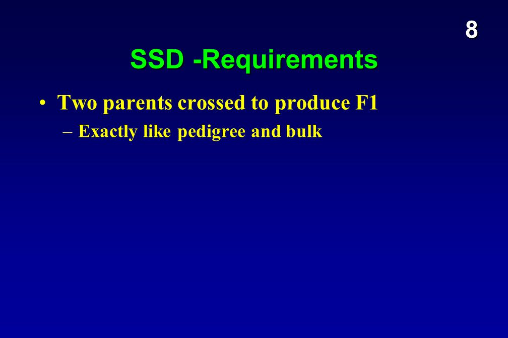 SSD -Requirements Two parents crossed to produce F1 –Exactly like pedigree and bulk 8