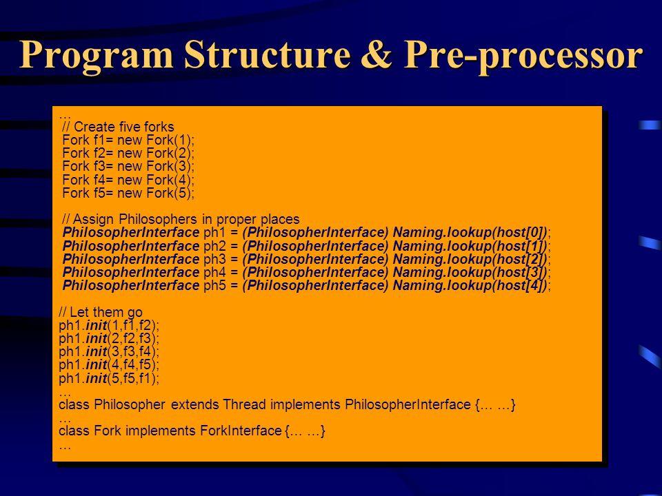 Program Structure & Pre-processor … // Create five forks Fork f1= new Fork(1); Fork f2= new Fork(2); Fork f3= new Fork(3); Fork f4= new Fork(4); Fork