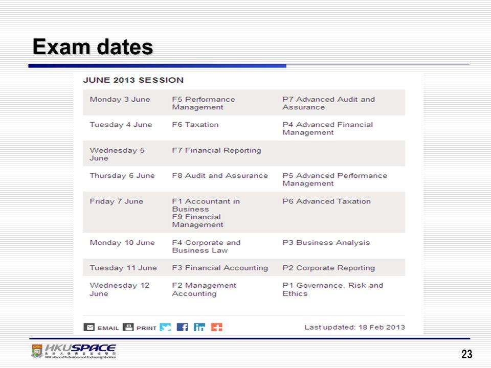 Exam dates 23