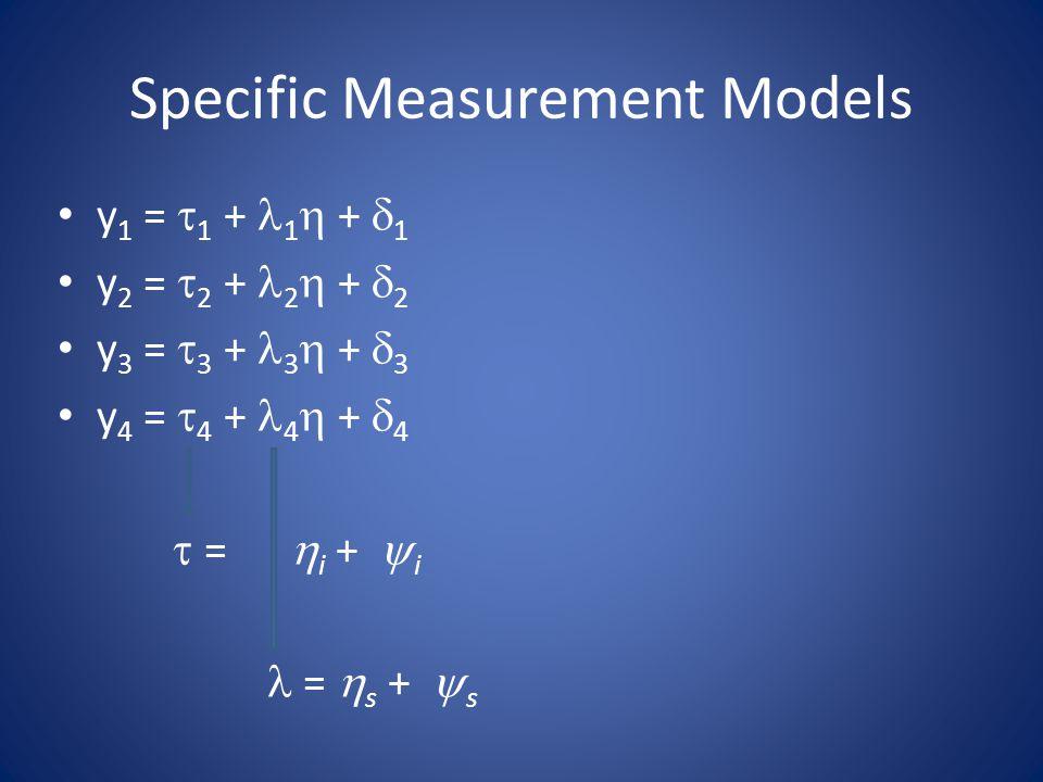 Specific Measurement Models y 1 =  1 + 1  +  1 y 2 =  2 + 2  +  2 y 3 =  3 + 3  +  3 y 4 =  4 + 4  +  4  =  i +  i =  s +  s