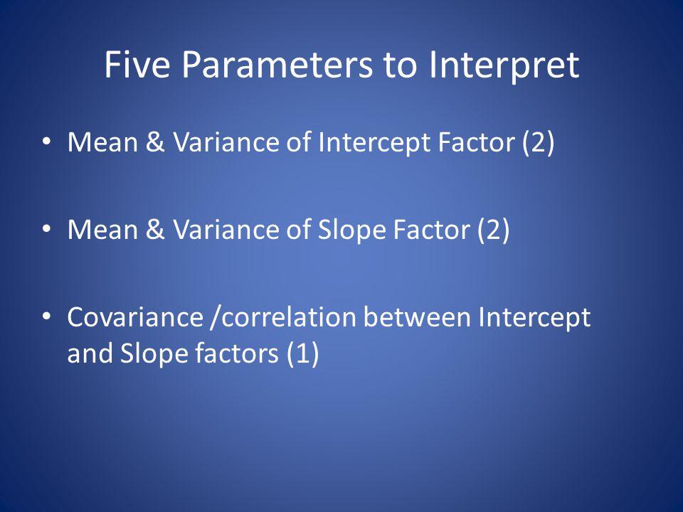 Five Parameters to Interpret Mean & Variance of Intercept Factor (2) Mean & Variance of Slope Factor (2) Covariance /correlation between Intercept and Slope factors (1)