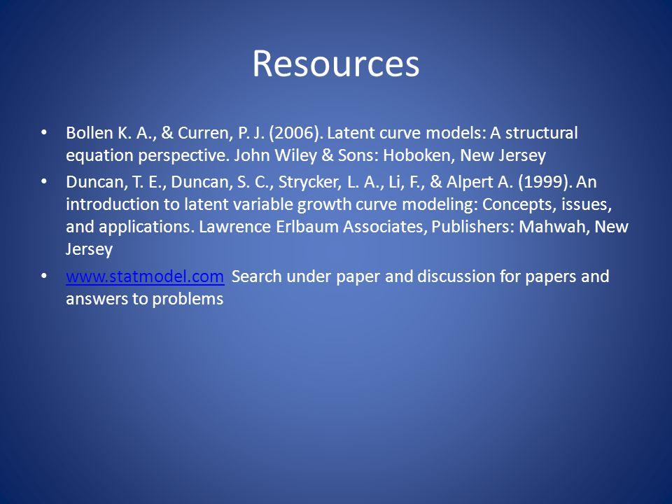 Resources Bollen K. A., & Curren, P. J. (2006).