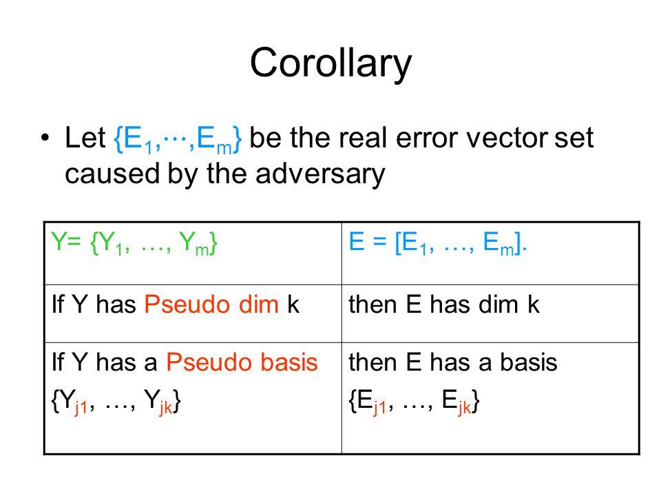 Corollary Let {E 1, ⋯,E m } be the real error vector set caused by the adversary Y= {Y 1, …, Y m }E = [E 1, …, E m ]. If Y has Pseudo dim kthen E has