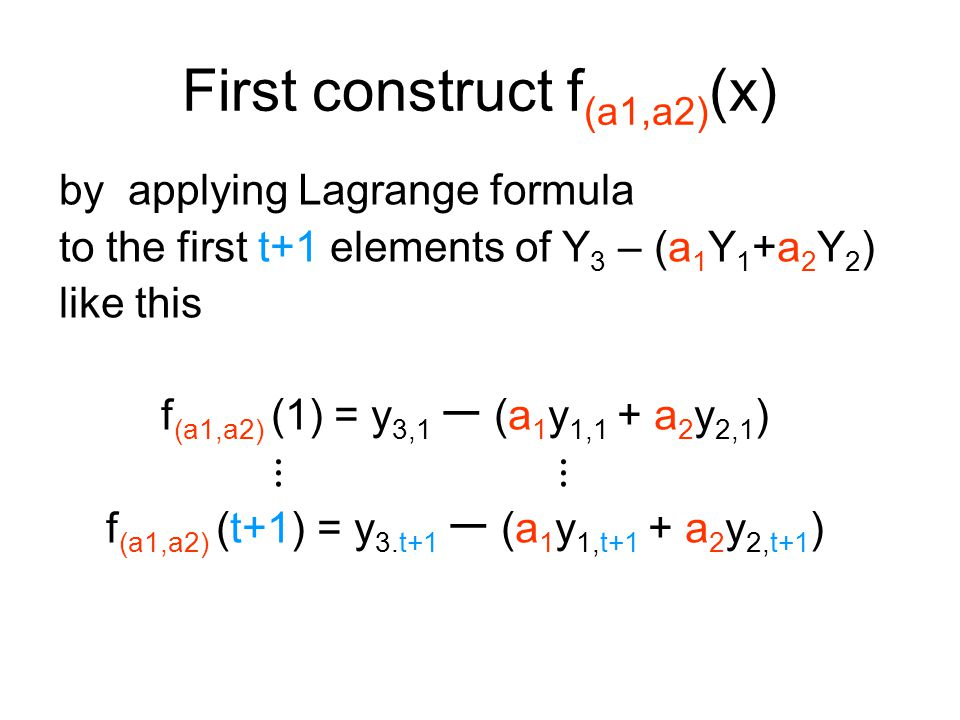 First construct f (a1,a2) (x) by applying Lagrange formula to the first t+1 elements of Y 3 – (a 1 Y 1 +a 2 Y 2 ) like this f (a1,a2) (1) = y 3,1 ー (a 1 y 1,1 + a 2 y 2,1 ) ⋮ f (a1,a2) (t+1) = y 3.t+1 ー (a 1 y 1,t+1 + a 2 y 2,t+1 )