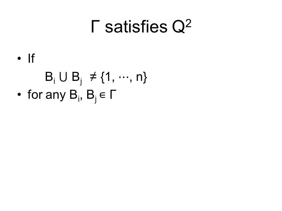 Γ satisfies Q 2 If B i ⋃ B j ≠ {1, ⋯, n} for any B i, B j ∊ Γ