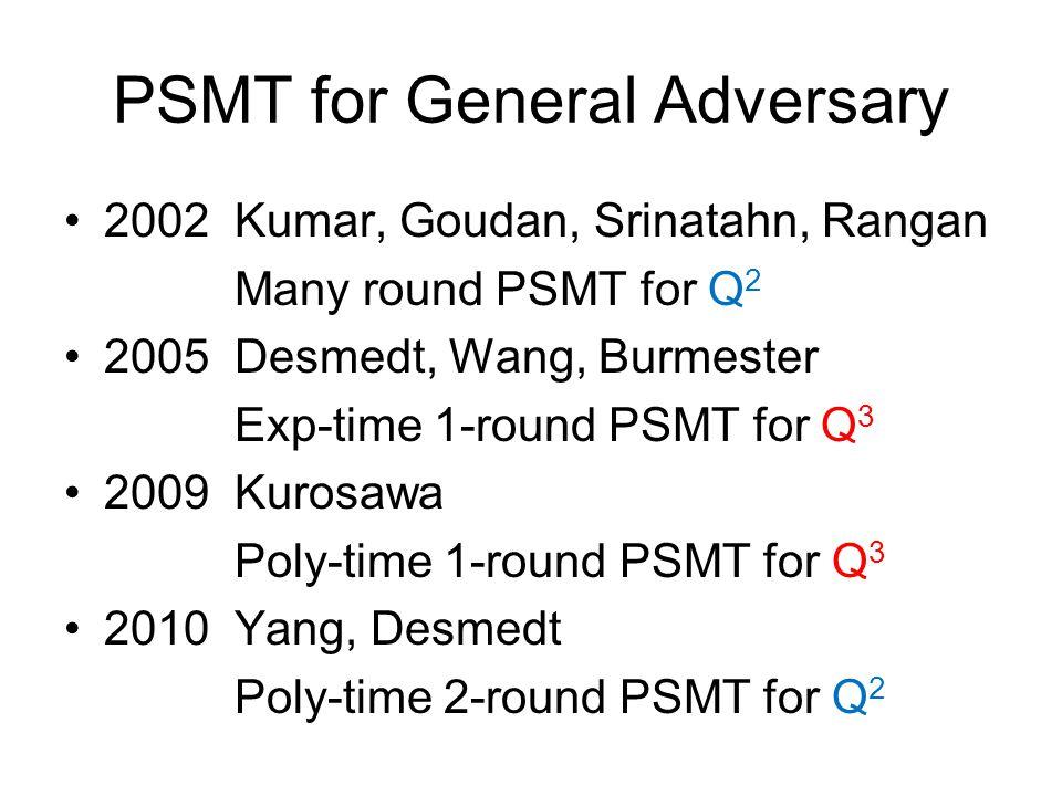 PSMT for General Adversary 2002 Kumar, Goudan, Srinatahn, Rangan Many round PSMT for Q 2 2005 Desmedt, Wang, Burmester Exp-time 1-round PSMT for Q 3 2009 Kurosawa Poly-time 1-round PSMT for Q 3 2010 Yang, Desmedt Poly-time 2-round PSMT for Q 2