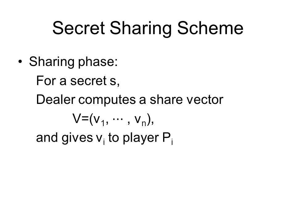 Secret Sharing Scheme Sharing phase: For a secret s, Dealer computes a share vector V=(v 1, ⋯, v n ), and gives v i to player P i