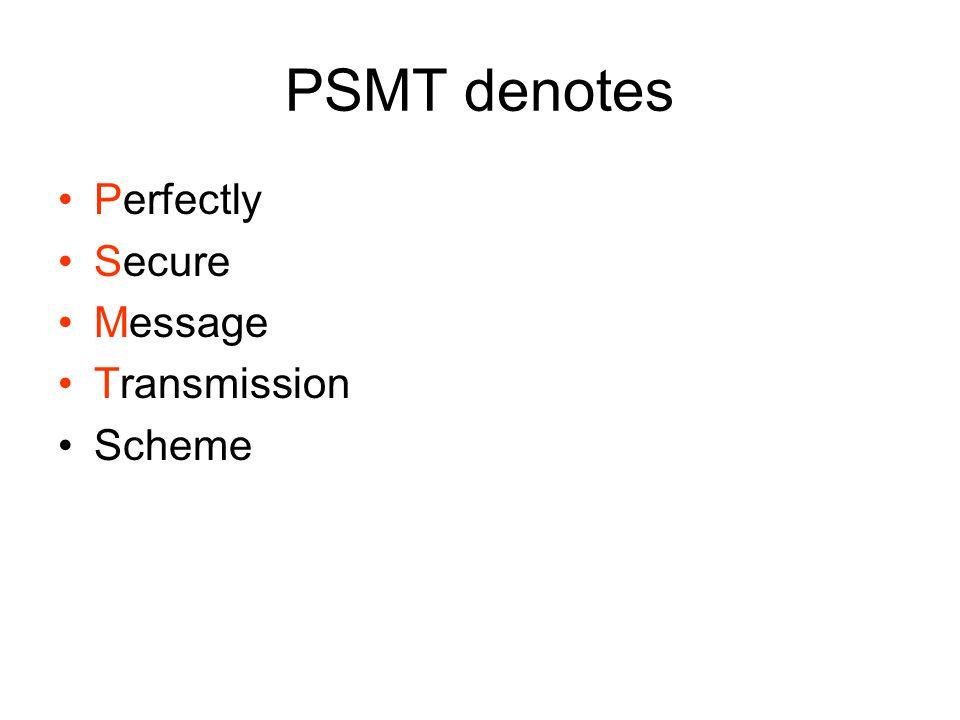 PSMT denotes Perfectly Secure Message Transmission Scheme