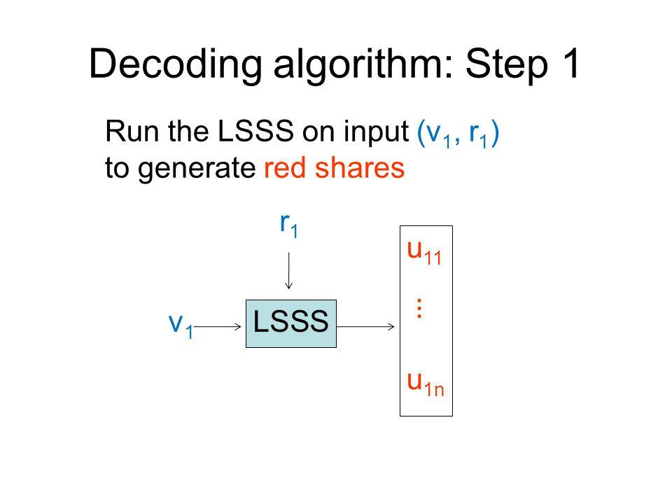 Decoding algorithm: Step 1 LSSS u 11 ⋮ u 1n v1v1 r1r1 Run the LSSS on input (v 1, r 1 ) to generate red shares