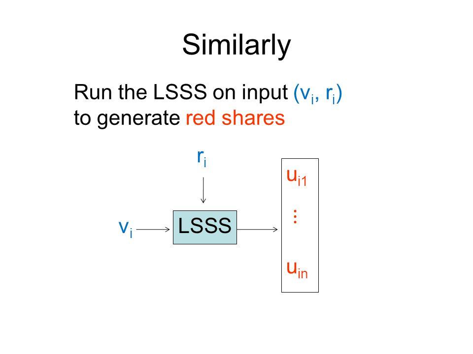 Similarly LSSS u i1 ⋮ u in vivi riri Run the LSSS on input (v i, r i ) to generate red shares