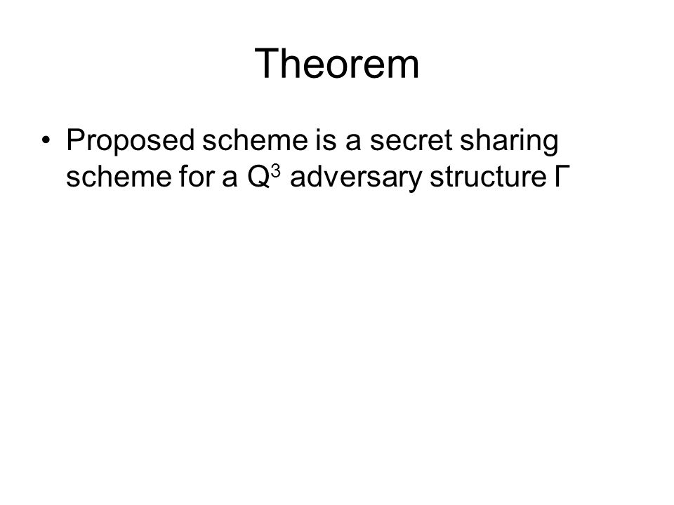 Theorem Proposed scheme is a secret sharing scheme for a Q 3 adversary structure Γ