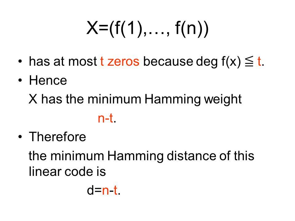 X=(f(1),…, f(n)) has at most t zeros because deg f(x) ≦ t.