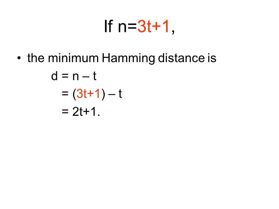If n=3t+1, the minimum Hamming distance is d = n – t = (3t+1) – t = 2t+1.