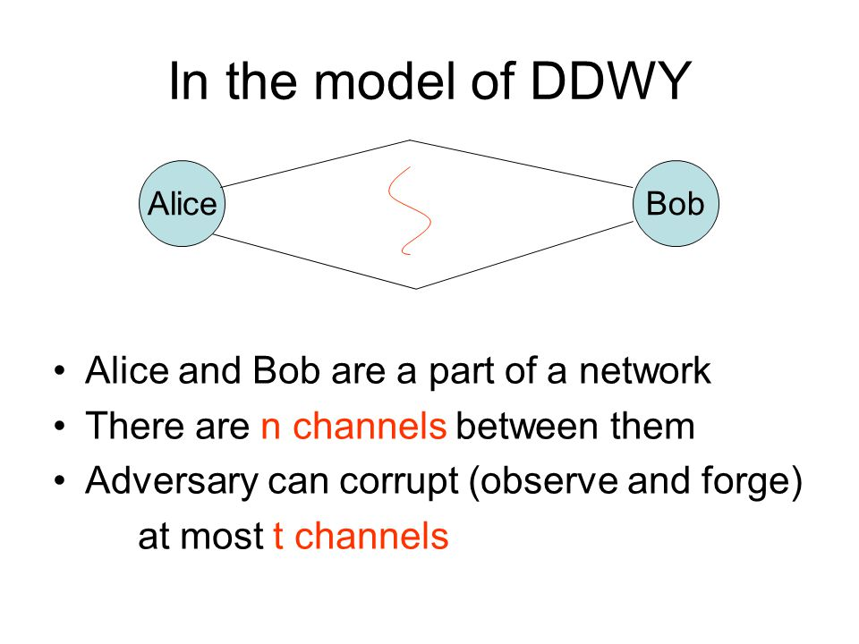 In the model of DDWY Alice and Bob are a part of a network There are n channels between them Adversary can corrupt (observe and forge) at most t chann