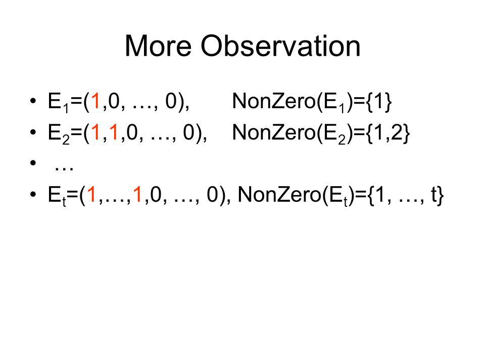 More Observation E 1 =(1,0, …, 0), NonZero(E 1 )={1} E 2 =(1,1,0, …, 0), NonZero(E 2 )={1,2} … E t =(1,…,1,0, …, 0), NonZero(E t )={1, …, t}