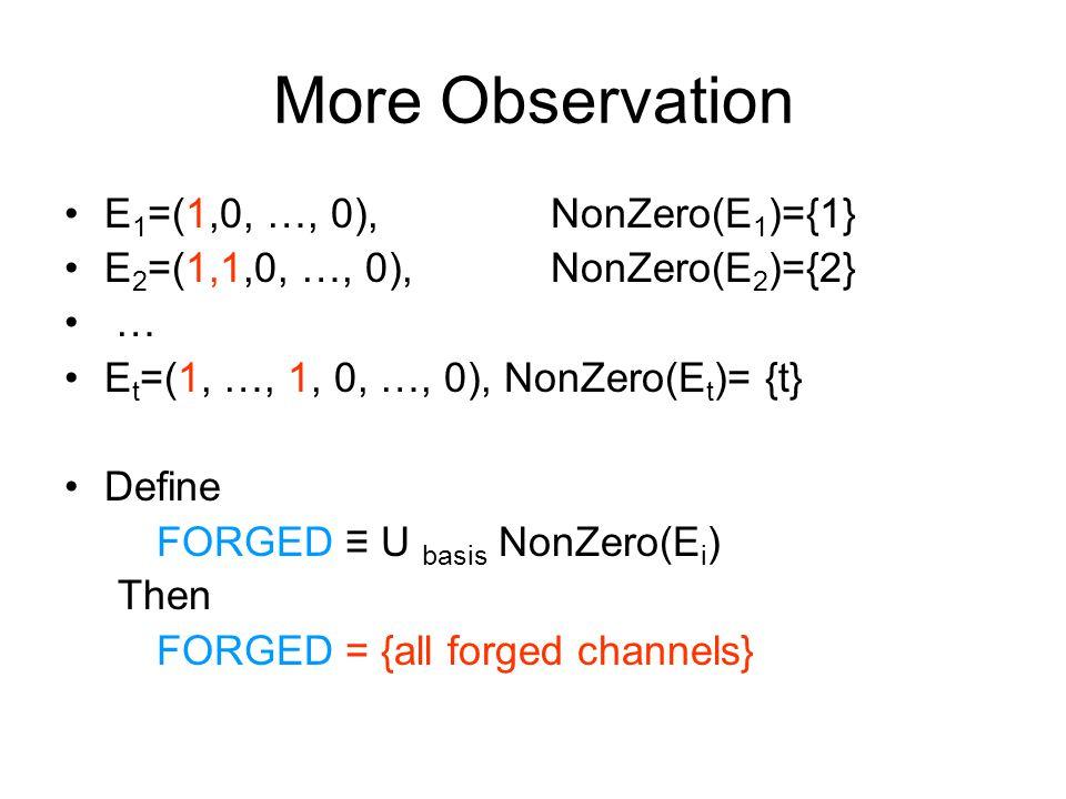 More Observation E 1 =(1,0, …, 0), NonZero(E 1 )={1} E 2 =(1,1,0, …, 0), NonZero(E 2 )={2} … E t =(1, …, 1, 0, …, 0), NonZero(E t )= {t} Define FORGED ≡ U basis NonZero(E i ) Then FORGED = {all forged channels}