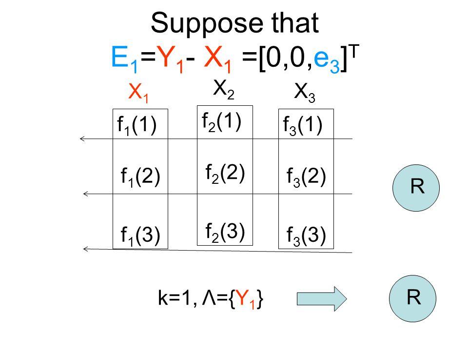 Suppose that E 1 =Y 1 - X 1 =[0,0,e 3 ] T R f 2 (1) f 2 (2) f 2 (3) X2X2 f 1 (1) f 1 (2) f 1 (3) X1X1 f 3 (1) f 3 (2) f 3 (3) X3X3 k=1, Λ={Y 1 } R