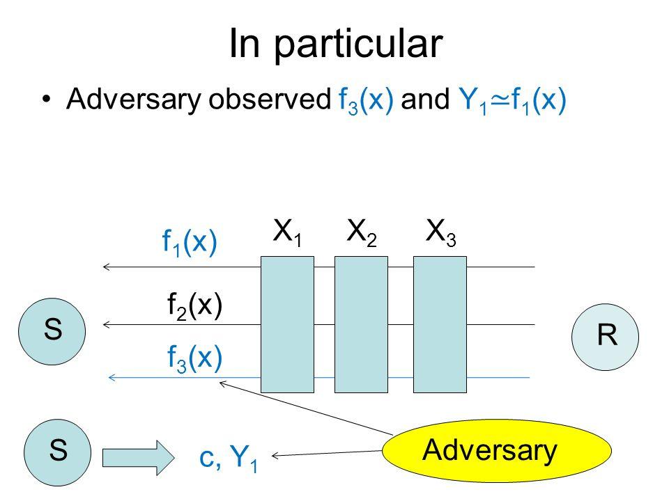 Adversary observed f 3 (x) and Y 1 ≃ f 1 (x) f 1 (x) f 2 (x) f 3 (x) S R S c, Y 1 In particular Adversary X1X1 X2X2 X3X3