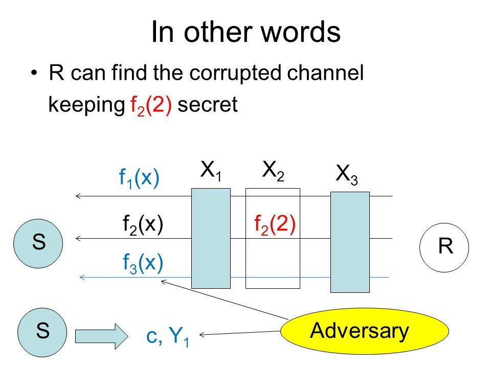 R can find the corrupted channel keeping f 2 (2) secret f 1 (x) f 2 (x) f 3 (x) S R S c, Y 1 In other words Adversary X1X1 X2X2 X3X3 f 2 (2)