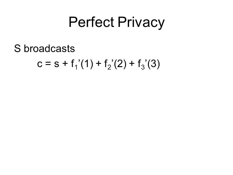 Perfect Privacy S broadcasts c = s + f 1 '(1) + f 2 '(2) + f 3 '(3)