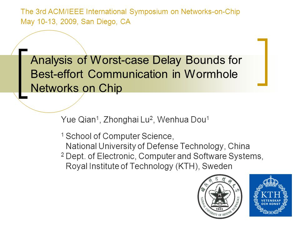 2 Outline Introduction Resource Sharing in Wormhole Networks Analysis of Resource Sharing The Delay Bound Analysis Technique A Delay-Bound Analysis Example Experimental Results Conclusions