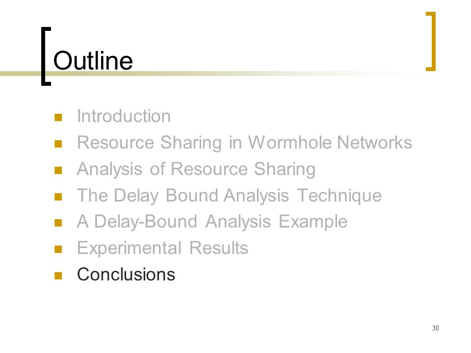 30 Outline Introduction Resource Sharing in Wormhole Networks Analysis of Resource Sharing The Delay Bound Analysis Technique A Delay-Bound Analysis E