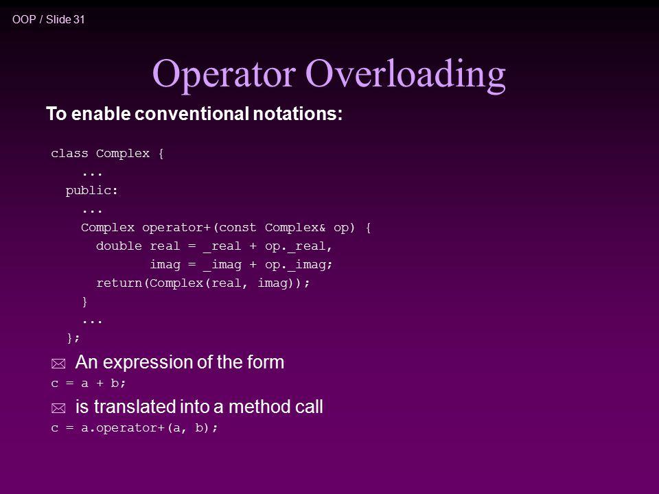 OOP / Slide 31 Operator Overloading class Complex {...