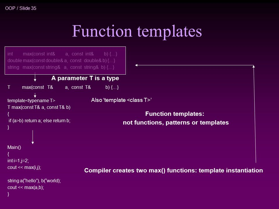 OOP / Slide 35 Function templates int max(const int& a, const int& b) {…} double max(const double& a, const double& b) {…} string max(const string& a, const string& b) {…} T max(const T& a, const T& b) {…} template T max(const T& a, const T& b) { if (a>b) return a; else return b; } Main() { int i=1,j=2; cout << max(i,j); string a( hello ), b( world); cout << max(a,b); } A parameter T is a type Also 'template ' Function templates: not functions, patterns or templates Compiler creates two max() functions: template instantiation