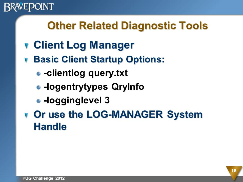 Other Related Diagnostic Tools Client Log Manager Basic Client Startup Options: -clientlog query.txt -logentrytypes QryInfo -logginglevel 3 Or use the LOG-MANAGER System Handle PUG Challenge 2012 18