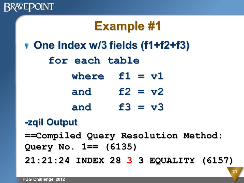 Example #1 One Index w/3 fields (f1+f2+f3) for each table where f1 = v1 andf2 = v2 andf3 = v3 -zqil Output ==Compiled Query Resolution Method: Query No.