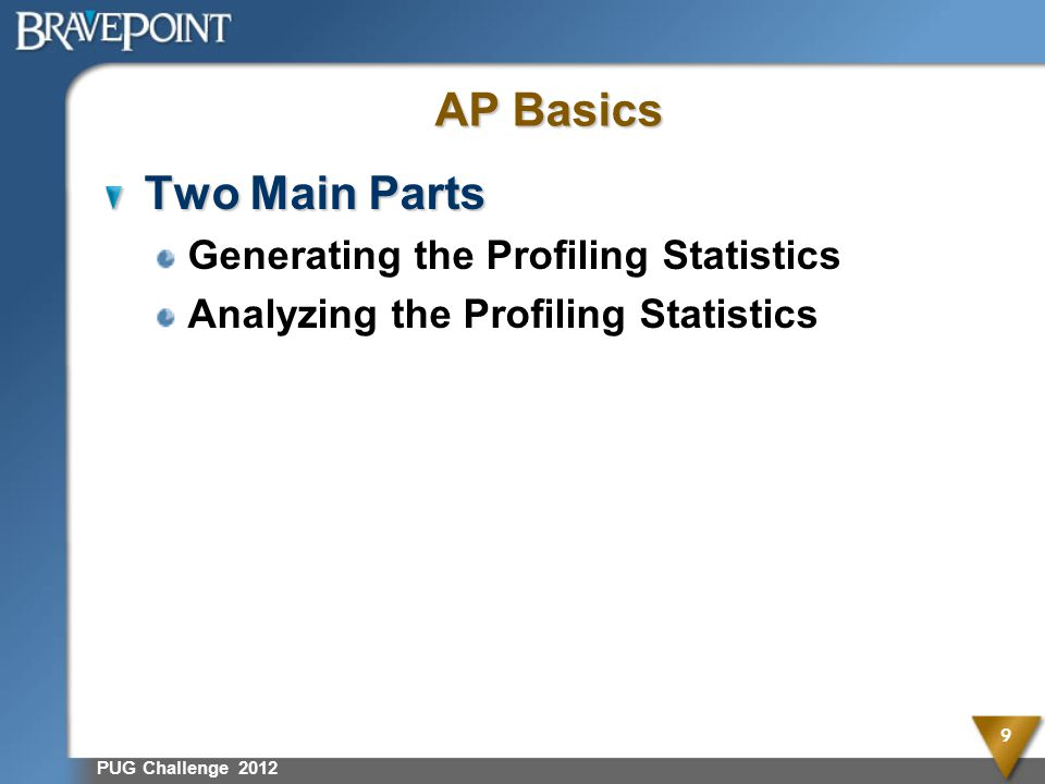 AP Basics Two Main Parts Generating the Profiling Statistics Analyzing the Profiling Statistics PUG Challenge 2012 9